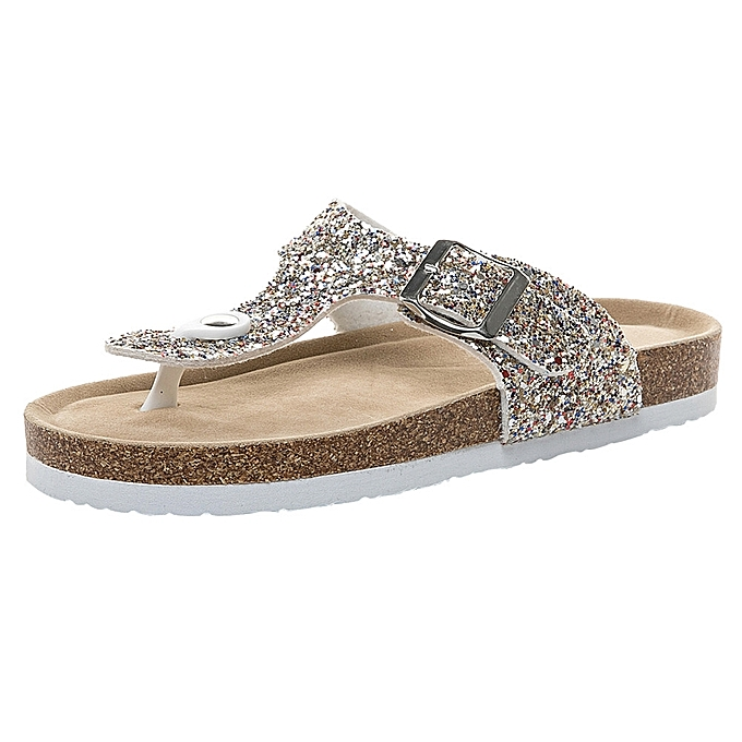 9b08ae88e Womens Cross Toe Double Buckle Strap Summer Sequined beach shoes Flat  Sandals