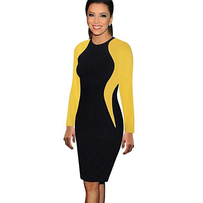 7122ab584001 Business Midi Dresses Formal Women Wear To Work Silm Dress Long  Sleeve-yellow