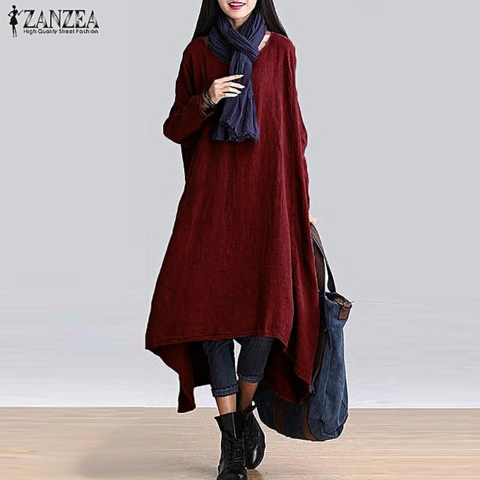 cfea1e2468 ZANZEA ZANZEA Women Fashion Retro Round Neck Long Sleeve High Low Irregular  Hem Causal Long Shirt Solid Midi Dresses Cotton Linen Loose Plus Size L-5XL  ...