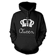 King And Queen Hoodies Valentine New Muti Colors Matching Cute Lover Couple (Black For Women ,White For Men) Black