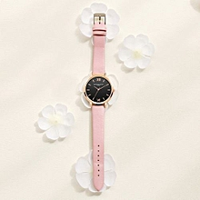 Lady  Leather Wrist Watch LVPAI Retro Design Leather Band Analog Alloy Quartz Wrist Watch Pink-Pinke
