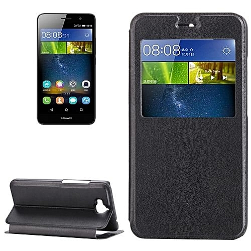 Huawei Enjoy 5 / TIT-AL00 Litchi Texture Horizontal Flip Leather Case with  Holder and Call Display ID(Black)