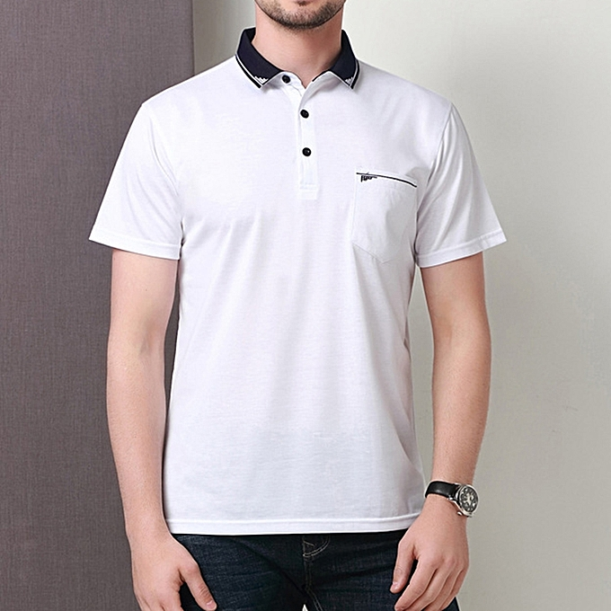 0c23b9ac606 Fashion Men s Business Casual Short Sleeved Golf Shirt Summer Breathable  Mercerized Cotton Lapel Tops