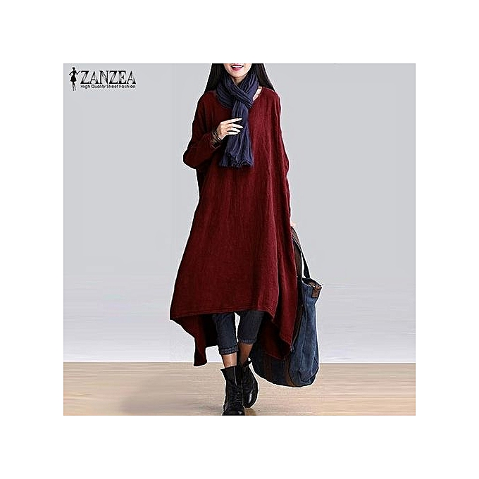 6b7b96df4036 ZANZEA Women Fashion Retro Round Neck Long Sleeve High Low Irregular Hem  Causal Long Shirt Solid