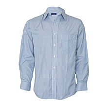 Blue With Silver Striped Long Sleeved Shirt