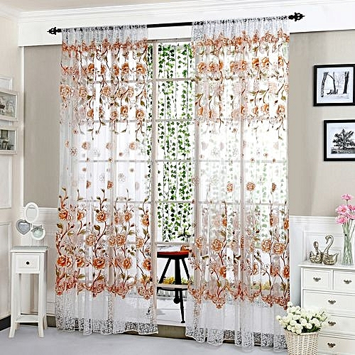 1 Pc Curtain And 1 Pc Tulle Peony Luxury Window Curtains: Generic Peony Sheer Curtain Tulle Window Treatment Voile