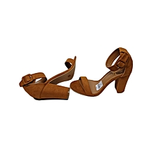 Brown Open Toe Suede Ankle Strap Heels Shoes