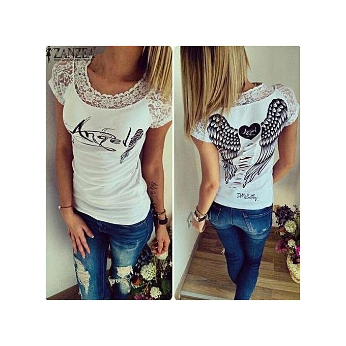 ZANZEA Hot Sale Women Shirt Short Sleeve Lace Wings Print Back Hollow Out  Patchwork Top Tees fa86e86b3