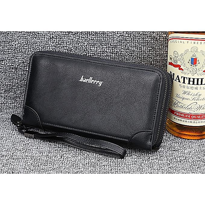 234f4a062bdb Men Wallet Business Casual Double Zipper Clutch Large Capacity Multi-card  Hand Clutch-black