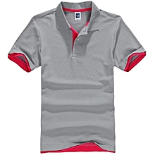 Men's Polo Shirt With Contrast Hem (Grey/Red)
