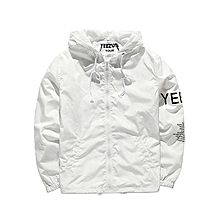 Men Casual Hoodie Long Sleeve Letter Print Lightweight Anti-Sun Jacket-White