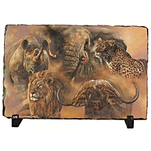 A Picture Of Big Five Animals- Rhino, Elephant, Lion, Leopard And Rhino Rock Photo - Multi-coloured