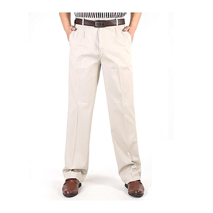 Fashion Mens Loose Thin Cotton Work Straight Leg Pants Breathable