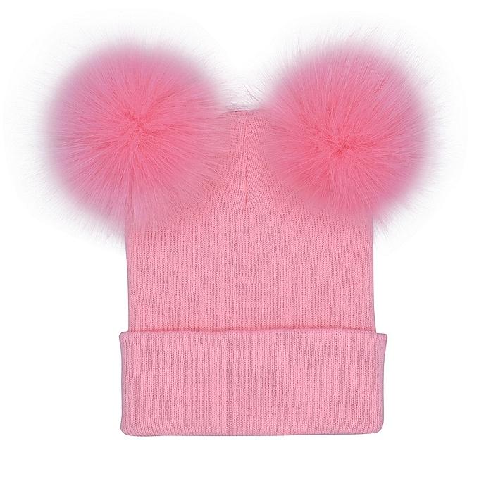 29ffcb8d04c singedanWomen Winter Warm Crochet Knit Double Faux Fur Pom Pom Beanie Hat  Cap -Pink