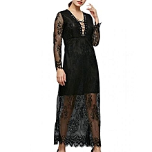 See-through Lace Dress - Black