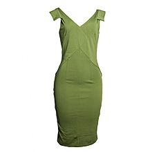 Lime Green V-shaped Pencil Official Dress