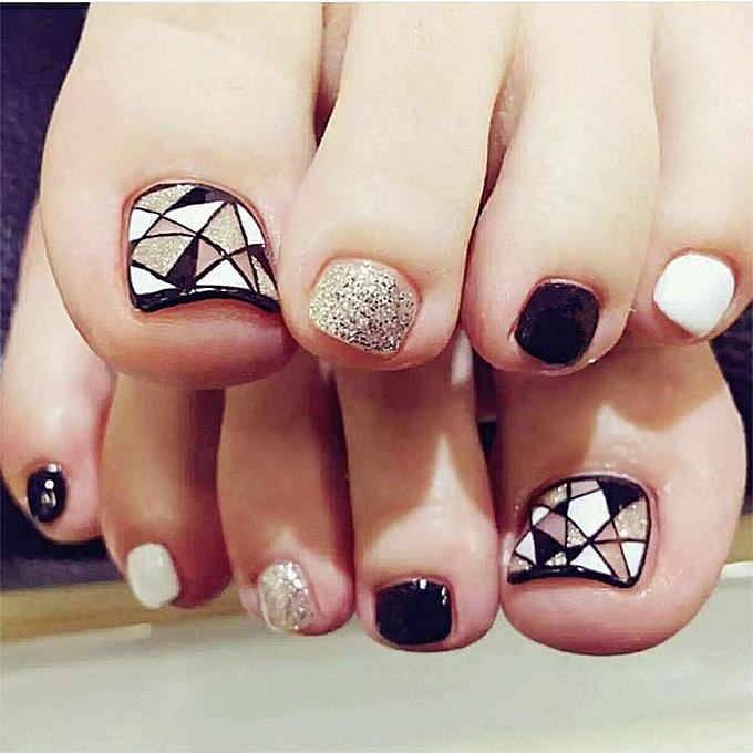 Buy Generic 24pcs/set Simple Fashion Fake Toe Nails Sticker Glitter ...