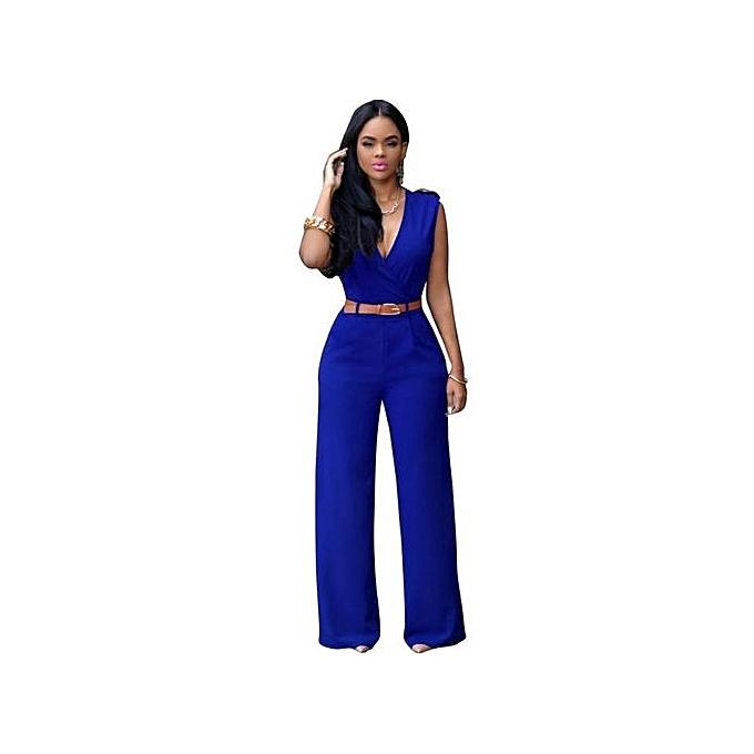 Buy Fashion New Womens Elegant Soild V Neck Long Loose Belted
