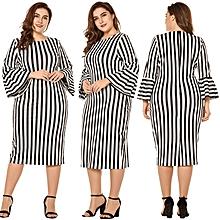50d35ef6867ce Women Plus Size Dress Santin Striped Print Flare Sleeve Ruffle Round Neck  Elegant Midi One-