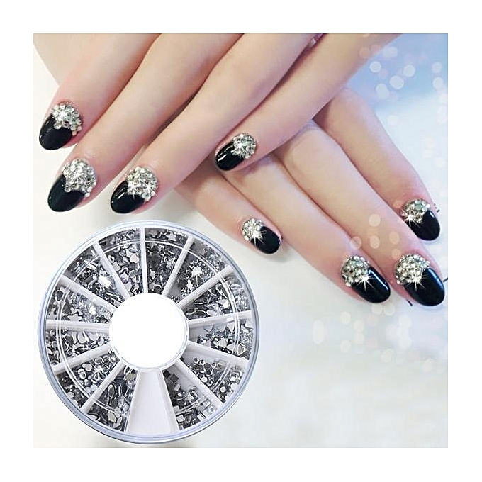 Buy Sunshine Wheel 12 Different Shape Glitter Silver Rhinestones ...