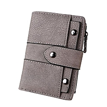 Women Small Compact Bifold Leather Pocket Wallet - Gray
