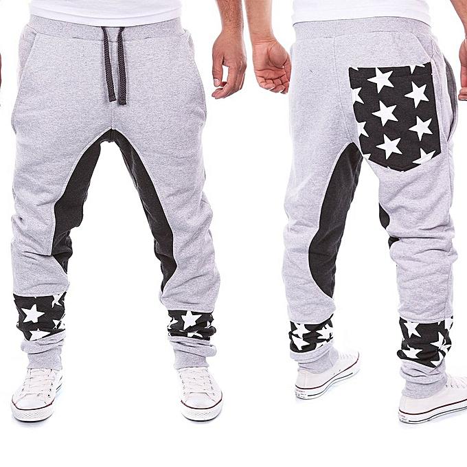 13b1dc11c Fashion Fashion Men Long Pants Elastic Waist Loose Casual Haren ...