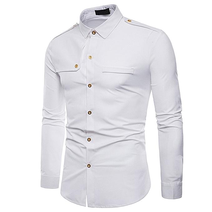 5ba075bd015d49 huskspo Mens Autumn Casual Fashion Military Combat Slim Fit Long Sleeve  Shirt Top Blouse
