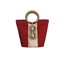 Raw Silk Handbag with Dynamix Brooch - Maroon