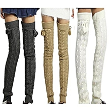 Super Vogue Soft Knit Thick Leg Warmer Long Knee High Warm Hosiery Stocking Color:Black Size:Length 26.7`cm With Balls