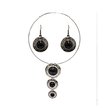 Black Stainless Steel Choker & Earrings Set