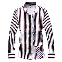 Stripe Mens Shirts  Long Sleeve Shirts (Red)