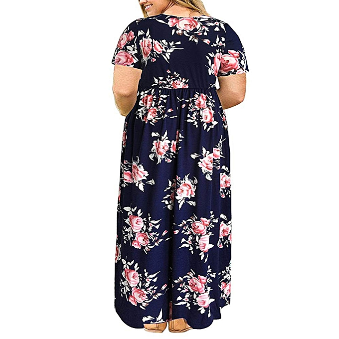 079c0f1c7d5b ... Women Short Sleeve Loose Plain Print Plus Size Long Maxi Dress with  Pockets ...