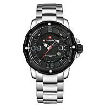 9078 Men Sport Watch Brand Fashion Men Quartz Watch Waterproof Steel Band Auto Date Wristwatches - Silver Black
