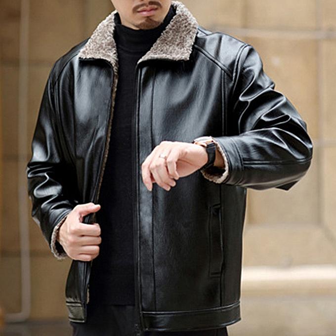 ae90b23a3 Xiuxingzi Men's Winter Fashion Jacket Pure Color Zipper Lapel Imitation  Leather Coat Tops