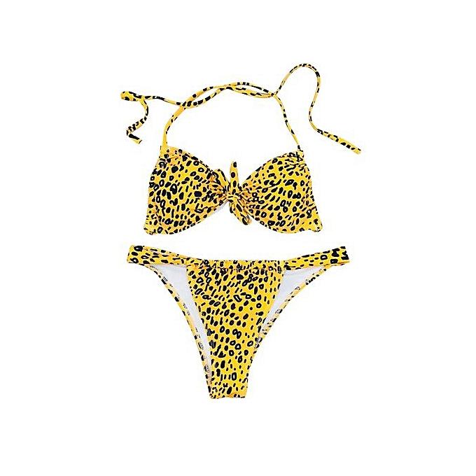 2abaa5fd0fc62 Xingbiaocao Sexy Swimwear Women Leopard Print Bikinis Set Wrapped Swimsuit  Push Up Bikini -Yellow