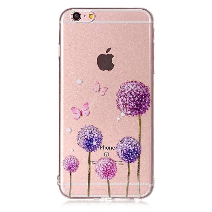 76f47f3cc703e2 Generic For iPhone 6 Plus   6s Plus Butterfly Purple Dandelion Pattern TPU  Protective Case