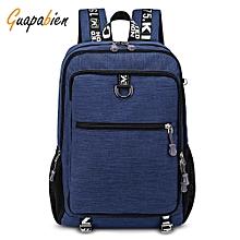 Guapabien Large Capacity Men's Travel Laptop Backpack with USB Charging Port - DEEP BLUE