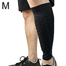 Football Anti-collision Leggings Outdoor Basketball Riding Mountaineering Ankle Protect Calf Socks Gear Protecter(Black Size: M)