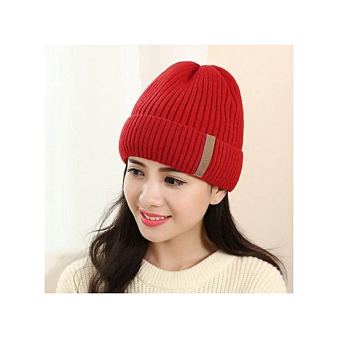 5391f369d81 Fashion Zetenis Unisex Braided Beret Baggy Knit Crochet Beanie Hat Ski Cap  Winter Warm Cap RD -Red