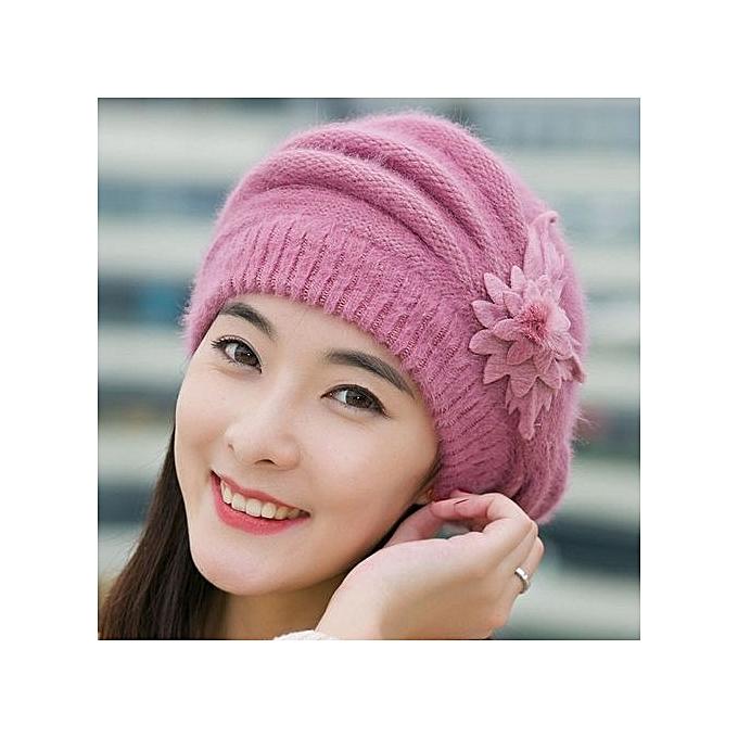 3a37c678b12 Fashion Womens Flower Knit Crochet Beanie Hat Winter Warm Cap Beret Purple