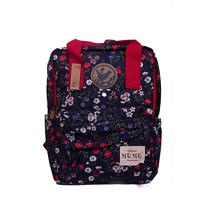 61c660616a04 Generic Stylish Ladies Dark Blue and Mixed Red Floral Canvas ...