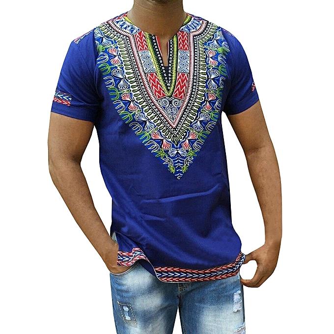 238c1b0c8afad AFankara Dashiki Designer Shirts-Blue   Best Price