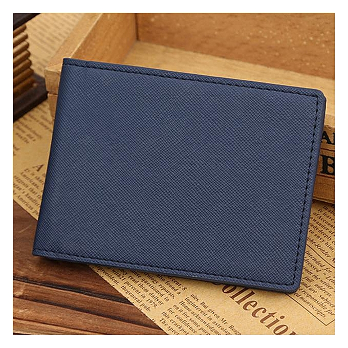 26b043046588 Men Leather Bifold Cards Holder Slim Wallet Money Purse Billfold Blue