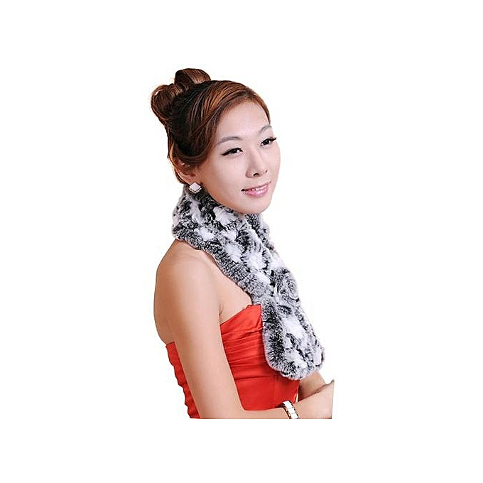 37826aee912 Hiaojbk Store Women Winter Rabbit Fur Scarf Lady Casual Fur Scarves Fur  Ball Velvet Scarf-Grey