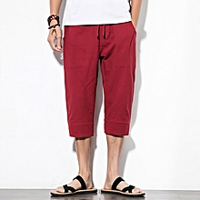 Chinese Style Linen Cropped Trousers Men's Vintage Large Size Embroidered Buckle Casual Pants