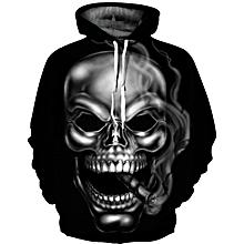 Stylish 3D Smoking Skull Print Men and Women's Hoodie