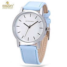 KINGSKY 8209 Women Quartz Watch Concise Style Leather Band Daily Water Resistance Wristwatch