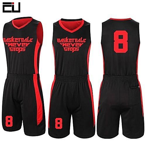 24bd89e2e5b Eufy Customized Brand Men s Basketball Team Sport Jersey Set-Black Red(2093)