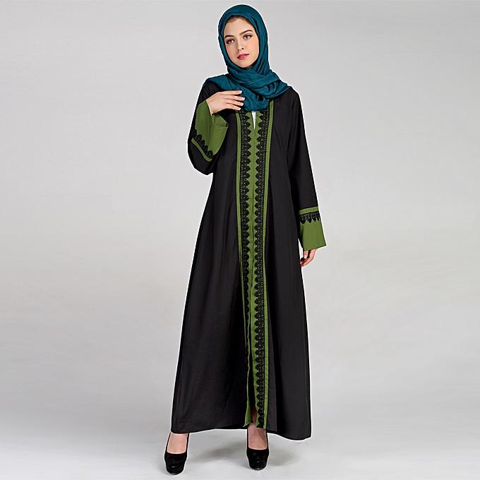a5884667c5 New Women Muslim Maxi Dress Contrast Color Lace Pitches Long Sleeve Abaya  Kaftan Islamic Indonesia Robe