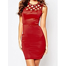 Zeagoo Women Casual O-Neck Sleeveless High Waist Hollow Out Casual Party Mini Pencil Dress ( Red )